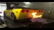 Banana Zr1 spitting flames on the dyno [low, 360p]