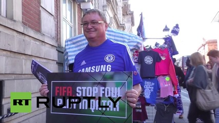 UK: Chelsea fans protest for the labour rights of 2022 Qatar World Cup workers