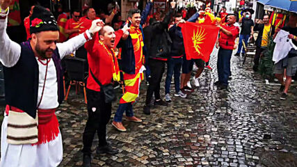 Romania: North Macedonian fans warm up in Bucharest ahead of Euros clash with Austria