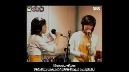 Snsd (taeyeon and Tiffany) - Because Of You (lyrics)