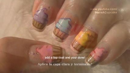 Cupcake Nail Art Tutorial Arte para las unas de pastelitos