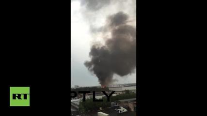 Дали този голям пожар в Москва е причинен от светкавица?