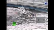 Dramatichno video ot cunamito v Iaponiia