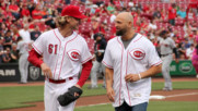 Karl Anderson throws out the first pitch at the Cincinnati Reds game