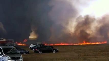 Пиянско барбекю изгори 64 коли !