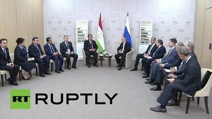 Russia: Putin meets Tajik President Rahmon at BRICS summit in Ufa
