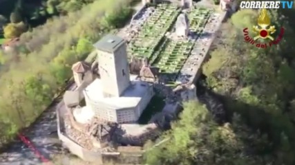 Italy: Helicopter footage shows Ussita Cemetery after earthquake