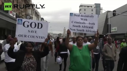 Protesters Get Water Cannoned at Durban Anti-Xenophobia March