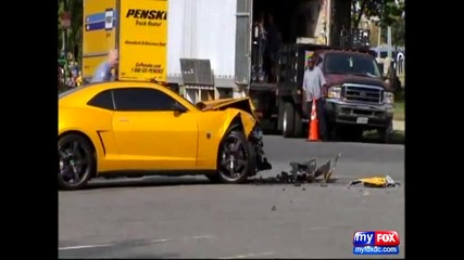 Бъмбълби се блъска по време на снимането на Transformers 3