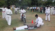 Indian karate master withstands 1,222 bikes driving over his chest in record attempt