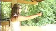 Shooting a Beretta 21a Bobcat .22lr - Girls Shooting Guns