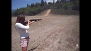 hot girl shooting mossberg 500 shotgun