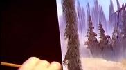 S06 Радостта на живописта с Bob Ross E06 - снежна пътека ღобучение в рисуване, живописღ