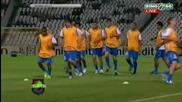 Левски и Дебрецен загряват преди мача