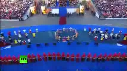 Встреча олимпийского огня в Москве. хор Пятницкого (sre6ta olimpiiski ogan v Moskva)