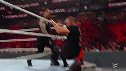 Extreme Rules 2019 Roman Reigns and Undertaker Vs Drew Mcintyre and Shane Mc Mahon No Holds Board Ta