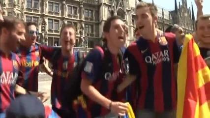 Феновете на Барса се забавляват преди мача с Байерн Мюнхен