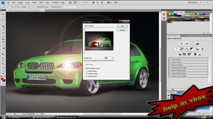 Как да сменим цвета на кола и да светнем фаровете и с photoshop cs4 *високо качество*