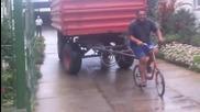 Теглене на голямо ремарке с колело!