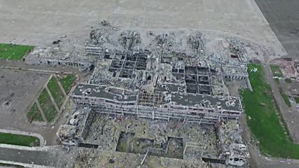Ukraine: Haunting drone footage captures Donetsk airport on anniv. of 1st battle