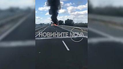 "Камион се запали на магистрала ""Тракия"""