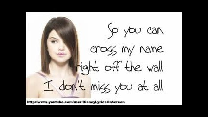 New! Selena Gomez and The Scene - I Dont Miss You At All + Lyrics