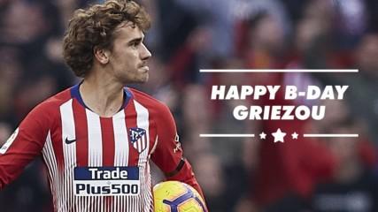 Френският футболист Антоан Гризман празнува днес