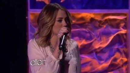 Майли Сайръс пее в шоуто на Елън !