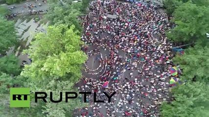 Armenia: Drone captures electric Yerevan protesters dancing