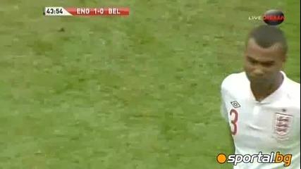 Ашли Коул удари без топка Фелайни на Англия - Белгия