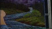 S02 Радостта на живописта с Bob Ross E11 - тъмен водопад ღобучение в рисуване, живописღ
