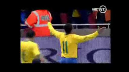 Friendly Game: Brazil - Italy. Amazing Robinho Goal 2 - 0. Amazing Brazilian Football..avi