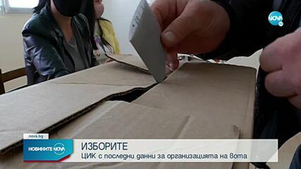 ЦИК с последни данни за организацията на вота