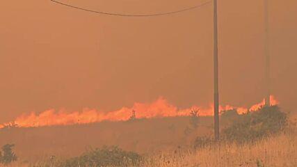 Italy: Fires rage in Sardinia's Santu Lussurgiu with heavy smoke billowing above area