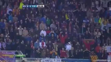 Лео Меси - фантастичен гол | Sevilla 0-2 Barcelona 17.3.12