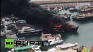 Hong Kong: Huge fire breaks out in Victoria Harbour