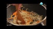 Чийзкейк-брауни, спаначена салата, пилешко с бамбук - Бон Апети (15.04.2013)