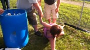 Drunk girl keg stand fail