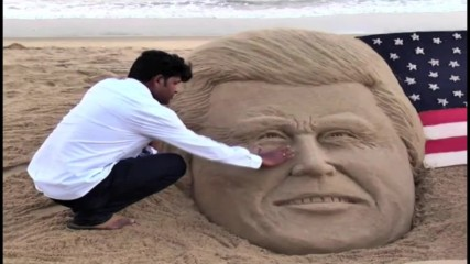 India: Trump and HRC's 'historic fight' written in sands of time with YUGE sand-sculpture