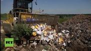 Русия: Машини смачкват 10 тона контрабандно сирене