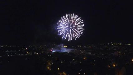 Заря над Пловдив по случай Съединението, заснета с дрон DJI Inspire 1, 6.9.2015