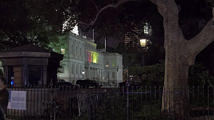 USA: New York City Hall illuminated in German flag colours in Munich tribute
