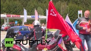 Czech Republic: See the Night Wolves' replica of the Soviet Reichstag flag
