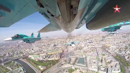 Униkaлни не излъчвани кадри от въздуха - Парада на Победата Москва 2015 - Hd Качество