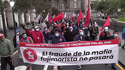 Peru: Thousands of Castillo supporters denounce voter fraud accusations in Lima march
