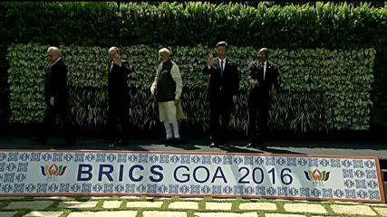 India: BRICS leaders pose for family photo ahead of talks