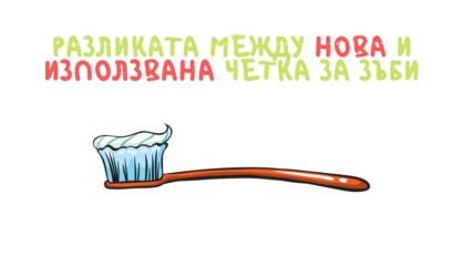 Разликата между нова и използвана четка за зъби