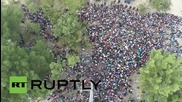 Greece: Drone footage shows THOUSANDS of refugees stranded at Macedonian border