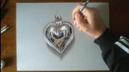 Страхотна 3d рисунка на метално сърце!