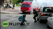 Turkey: Molotov cocktails fly during clashes between police and PKK